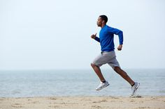 Black-Man-Running-On-Beach-Exercise-Fitness - ikaria fit. Sport Body, Sport Man, Sport Girl, Will Turner, Beach Workouts, Beach Exercise, Running On The Beach, Sport Quotes, Sport Photography