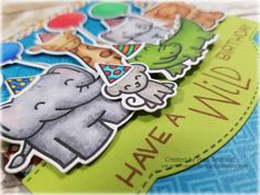 """airbornewife's stamping spot: TupeloDesignsLLC DT Card project """"HAVE A WILD BIRTHDAY"""" card using Lawn Fawn Wild For You/Party Animal MOJO499"""