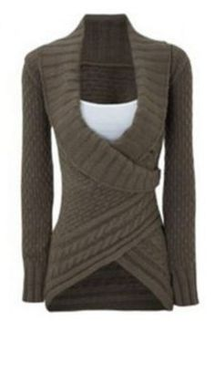 Comfy Weekend Fashion! Chic Chunky Knit Turn-Down Neck Long Sleeve Asymmetrical Women's Sweater