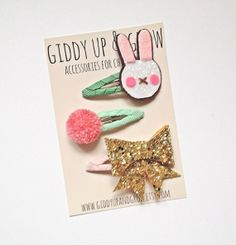 Giddy Up and Grow Hair Clips Glitter Bow Pom by giddyupandgrow, $24.00