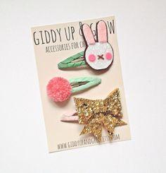 Giddy Up and Grow Hair Clips Glitter Bow Pom by giddyupandgrow, $24.00