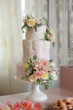 Cake Artistry by The Mishief Maker | Blush Sugar Peonies and Roses Wedding Cake
