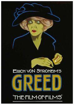 "Movie Poster: A beautiful, evocative portrait of ZaSu Pitts as Trina in Erich Von Stroheim's ""GREED"" ~ 1925. [pr]."