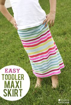 Make a Toddler-sized Maxi Skirt out of a Juniors Tank Top! Easy 30 minute/ $4 project! via sisterssuitcaseblog.com #sewing #DIY