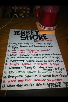 Jersey Shore (RIP) Drinking Game Rules