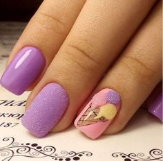 60 Trendy Ideas For Purple Nail Art Designs You Must Try - Summer Nail Purple Ideen Cute Spring Nails, Summer Nails, Cute Nails, My Nails, Winter Nails, Nail Art Violet, Purple Nail Art, Nail Designs Spring, Nail Art Designs