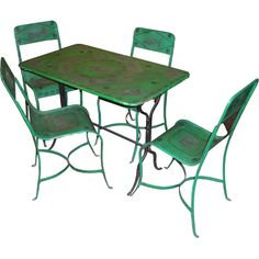 Early 20th cent. French  painted iron table and chairs