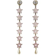 Safsafu Pink mirror stars long earrings (305 CAD) ❤ liked on Polyvore featuring jewelry, earrings, round earrings, pink star earrings, earring jewelry, star dangle earrings and faux pearl earrings