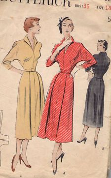 batwing+dress+pattern   VTG 1950s BUTTERICK PATTERN 5258- MISSES' DRESS BATWING SLEEVE SZ. 18 ...
