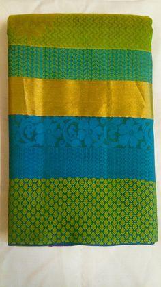 Lovely Green and Blue Kanchi Silk Saree Indian Sarees, Silk Sarees, Indian Wear, Green, Blue, Design, Fashion, Indian Saris, Moda