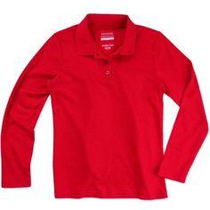 George Girls' School Uniform Long Sleeve Polo Shirt, Girl's, Size: XS (4/5), Red