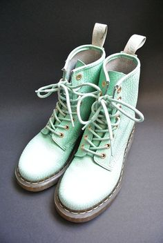 Mint / Light Green / Pastel Dr Martens Boots UK by DaisiesCutters, Dr. Martens, Dr Martens Boots, Cute Shoes, Me Too Shoes, Trendy Shoes, Baskets, Shoe Boots, Shoe Bag, Soft Grunge