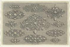 Josef Friedrich Leopold   Twaalf ontwerpen voor juwelen, Josef Friedrich Leopold, 1695   Blad 6 uit serie van 17 bladen.