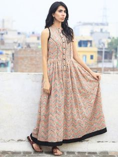 Ivory Black Red Long Sleeveless Hand Block Printed Cotton Dress With Gathers & Side Pockets - D46F591