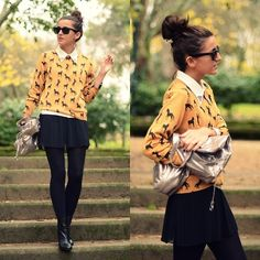 Romwe Sweater, Bershka Skirt, Stradivarius Bolso, H&M Booties, Ray Ban Sunglasses, Romwe Shirt