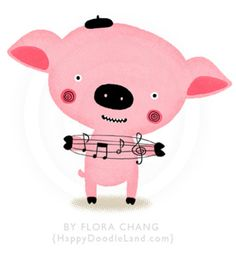Music Piggy print by Flora Chang | Happy Doodle Land