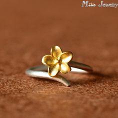 925 Sterling Silver Ring Gold Sakura Flowers Silver Ring Women Jewelry Gift Finger Open Rings Anillo Anel De