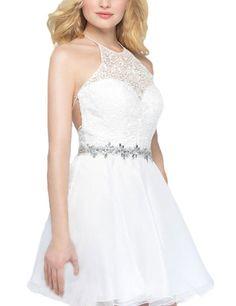 LovingDress Women's Homecoming Dress Chiffon&Lace Halter Short Cocktail Dress Size 0 US White