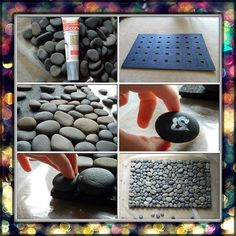 Ocean Stone Bath Mat Supplies: -Outdoor rubber mat – with holes or spaces for water to drain -Smooth ocean or river stones – make sure they are porous, not slick and polished. The amount will vary on the size of the mat and can be found near rivers, oceans, or your local craft store! -Waterproof silicone sealer in clear – you want something that can hold up with water and that has a little bit of flex to it. -Plastic drop cloth or old shower curtain The mat had a textured pattern on the…