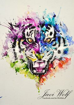 Watercolor tiger by @javiwolfink
