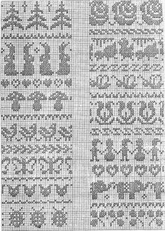 hare-sopp                                                       … Fair Isle Knitting Patterns, Knitting Charts, Knitting Stitches, Sock Knitting, Free Knitting, Cross Stitch Borders, Cross Stitch Patterns, Fair Isle Chart, Mittens Pattern