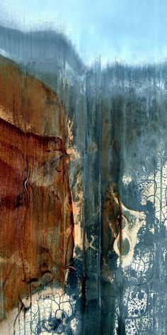 "Abstract digital image in rust and blue. 18"" x 36"" image printed with pigment inks on fine art paper. To purchase go to www.LuAnnOstergaard.com."