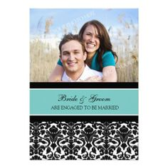 Teal Damask Photo Engagement Party Invitations