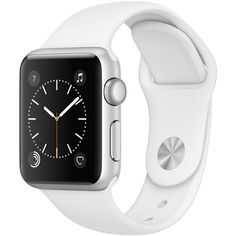Apple Watch Series 1 38mm Silver-Tone Aluminum Case with White Sport... ($269) ❤ liked on Polyvore featuring jewelry, watches, silver, silver tone watches, holiday jewelry, sport jewelry, white wrist watch and white jewelry