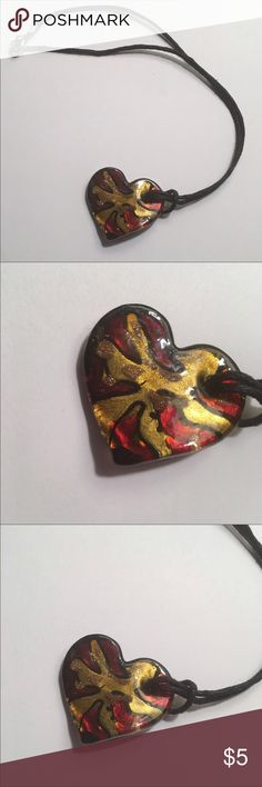"""Heart Necklace Red Gold Resin Black Cord 9"""" Drop Heart Necklace Red/Gold/Black Resin **Black Cord ***9"""" Drop**Heart is approx 1.5"""" across at the widest part Jewelry Necklaces"""