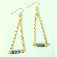 Turquoise Gold Chain Dangle Earrings Handmade by me! Great addition to any outfit! Handmade Jewelry Earrings