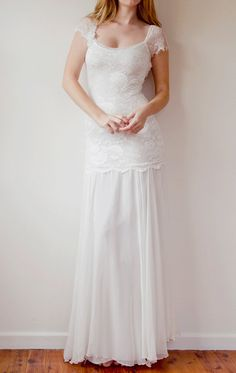 Beautiful low back French lace & silk chiffon wedding dress Wedding Dress Low Back, Vintage Style Wedding Dresses, Wedding Dresses 2014, Bohemian Wedding Dresses, Lace Wedding, Vintage Dress, Dress Wedding, Grace Loves Lace, Bridal Gowns