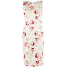 Hobbs Tea Rose Dress, Ivory/Multi ($210) ❤ liked on Polyvore featuring dresses, floral midi dress, maxi dress, ivory maxi dress, white evening dresses and white cocktail dresses