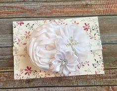 White Baptism Headband/White Headband/Baptism Headband/Christening Headband/White Baby Headband/Baby Headband/Newborn Headband/Baby Baptism by JuliaGraceDesigns1 on Etsy