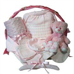 """Canastilla recién nacido """"Clásica Óptima"""" rosa, el mejor regalo para los nuevos padres."""