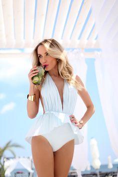 Bridal Wedding and Honeymoon, Lingerie and Swimwear. White swim suit