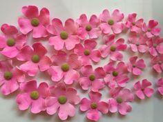 24 dogwood fondant flowers edible cupcake toppers wedding cake topper decorations hot pink blossoms birthday baby bridal shower by InscribingLives (19.99 USD) http://ift.tt/1GJsM0w