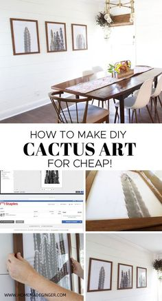 Make some DIY cactus art for just a few dollars. This DIY art tutorial is so easy to follow and is a great way to create some custom DIY modern art prints for your home!