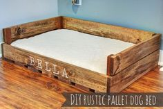 Love this! So easy to make! DIY rustic dog bed made from pallets. #DogBedsDIY
