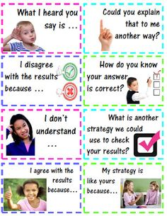 Accountable Math Talk Stems for Students with Questions & Statements - These stems will assist your students in conversation - explaining, justifying, and critiquing their own work, as well as, other students' work. Maths Guidés, Math Classroom, Fun Math, Kindergarten Math, Teaching Math, Classroom Ideas, Teaching Ideas, Preschool, Teaching Activities