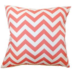 Cotton pillow with a coral chevron motif and down-feather fill. Made in the USA.     Product: PillowConstruction Materia...