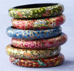 Papier Mache Bangles Set: Handpainted in India Paper Mache Projects, Paper Mache Clay, Paper Mache Crafts, Paper Jewelry, Paper Beads, Jewelry Crafts, Paper Bracelet, Diy Paper, Paper Art