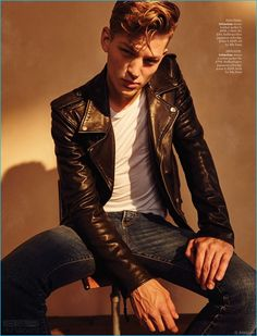 Sebastian Sauvé channels his inner cool in a leather biker jacket and denim jeans from BLK DNM.