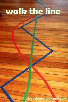 Lines of Colored Tape - tons of ideas for this including oral motor (blowing pom poms with a straw down the line!) ...maybe next weeks pin for discussion?  - -  Pinned by @PediaStaff – Please Visit http://ht.ly/63sNt for all our pediatric therapy pins