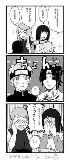 Hinata and Sakura getting Bolt and Sarada to cosplay