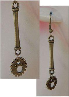 Gold Steampunk Gear Charms Drop/Dangle Earrings Handmade Hook Fashion NEW #Handmade #DropDangle http://www.ebay.com/itm/161998356754?ssPageName=STRK:MESELX:IT&_trksid=p3984.m1555.l2649