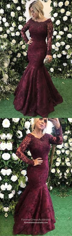 Mermaid Prom Dresses,Lace Prom Dress,Sexy Prom Dress,Off-the-Shoulder Prom Dress,Long Sleeves Burgundy Prom Dress With Lace Beading Mermaid Prom Dresses Lace, Prom Dresses 2018, Cheap Prom Dresses, Modest Dresses, Ball Dresses, Lace Dress, Dress Prom, Party Dresses, Tulle Lace