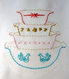 All of my embroidery patterns are drawn by hand and then digitized by me for you! This pattern is inspired by vintage Pyrex bowls and has become a very popular pattern for kitchen towels.