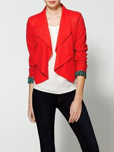 Ark & Co. Winter Red Blazer - love the peek of printed lining