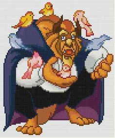 """Disney"" ""Beauty and The Beast"" Beast 4 Cross Stitch Pattern 