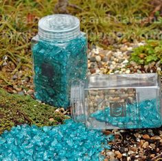 Fairy Homes and Gardens - Crushed Blue Glass with Glitter, $7.79 (http://www.fairyhomesandgardens.com/crushed-blue-glass-with-glitter/)